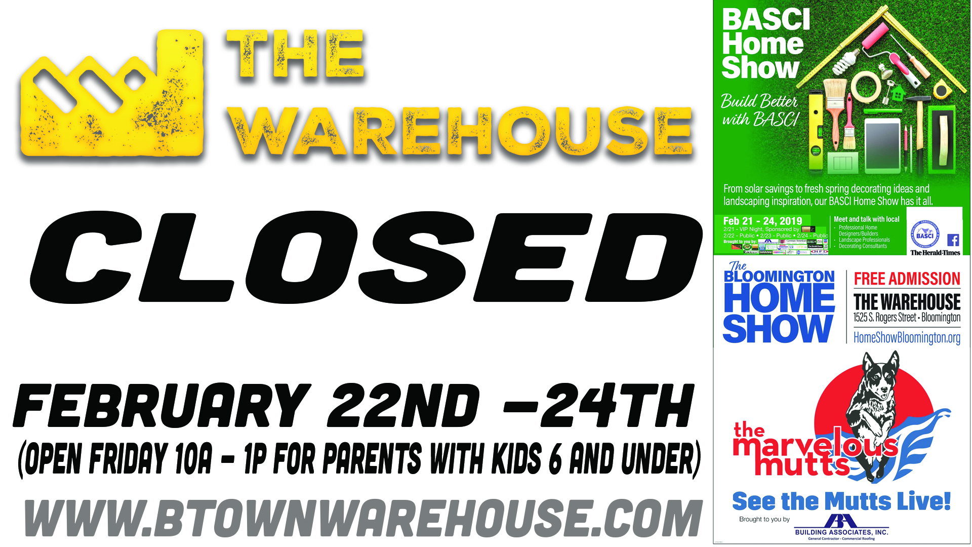 Closed For Homeshow 2019